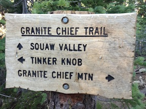 Granite Chief Trail - Pacific Crest Trail sign