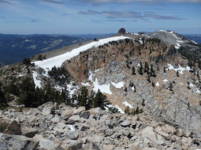 Lyon Peak Ridge, looking west from Granite Chief